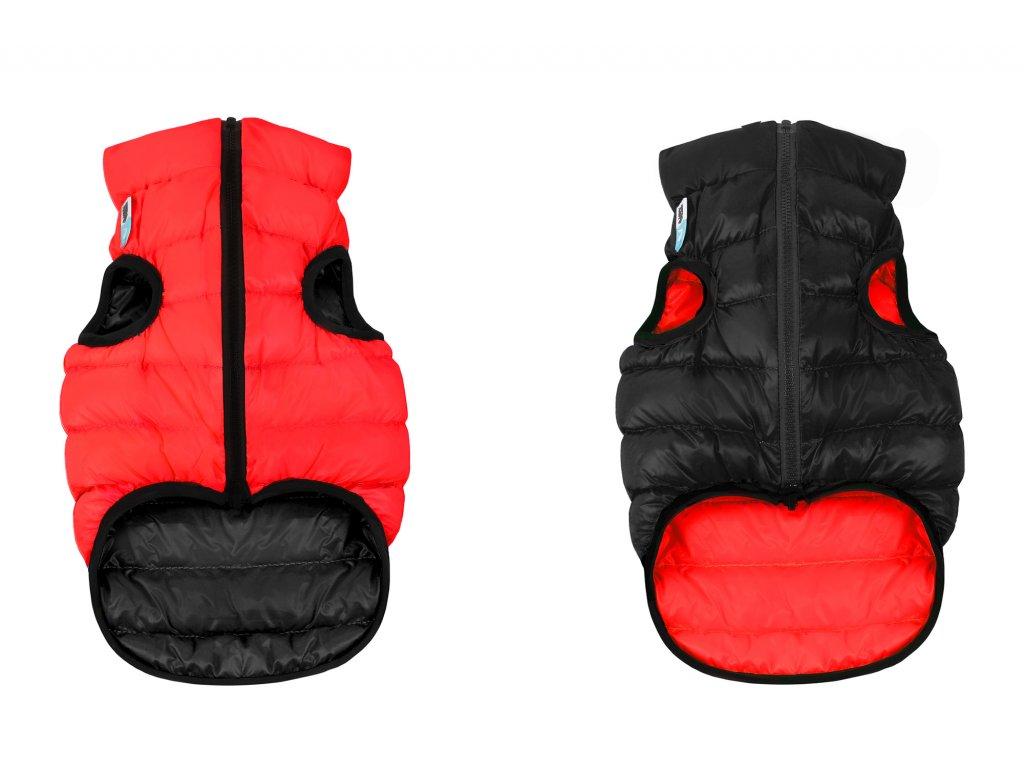 teplé a lahké oblečenie pre psa airy vest červeno cierne obojstranne