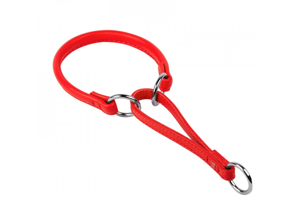 Okrúhly polosťahovací kožený červený obojok