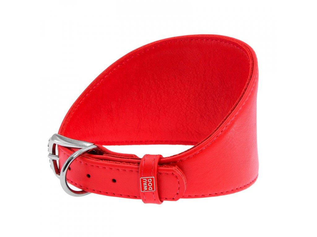 Obojok pre chrty kožený červený