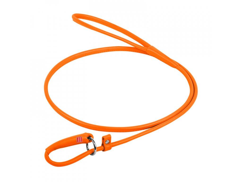 Okrúhle kožené škrtiace vodítko oranžové 135cm