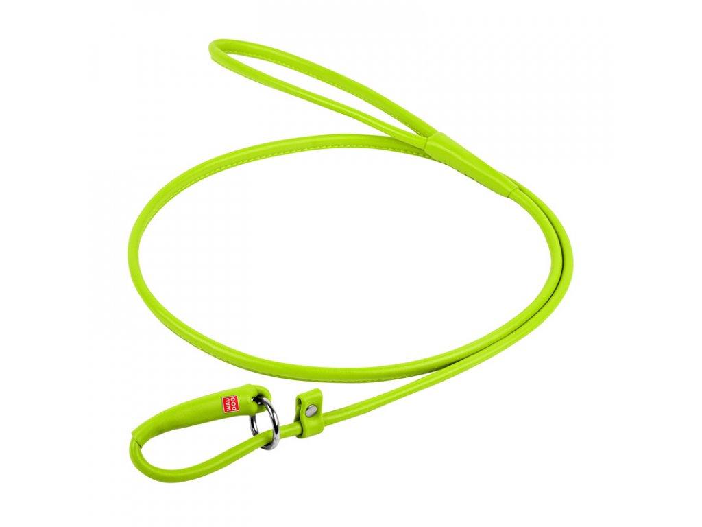 Okrúhle kožené škrtiace vodítko zelené 135cm