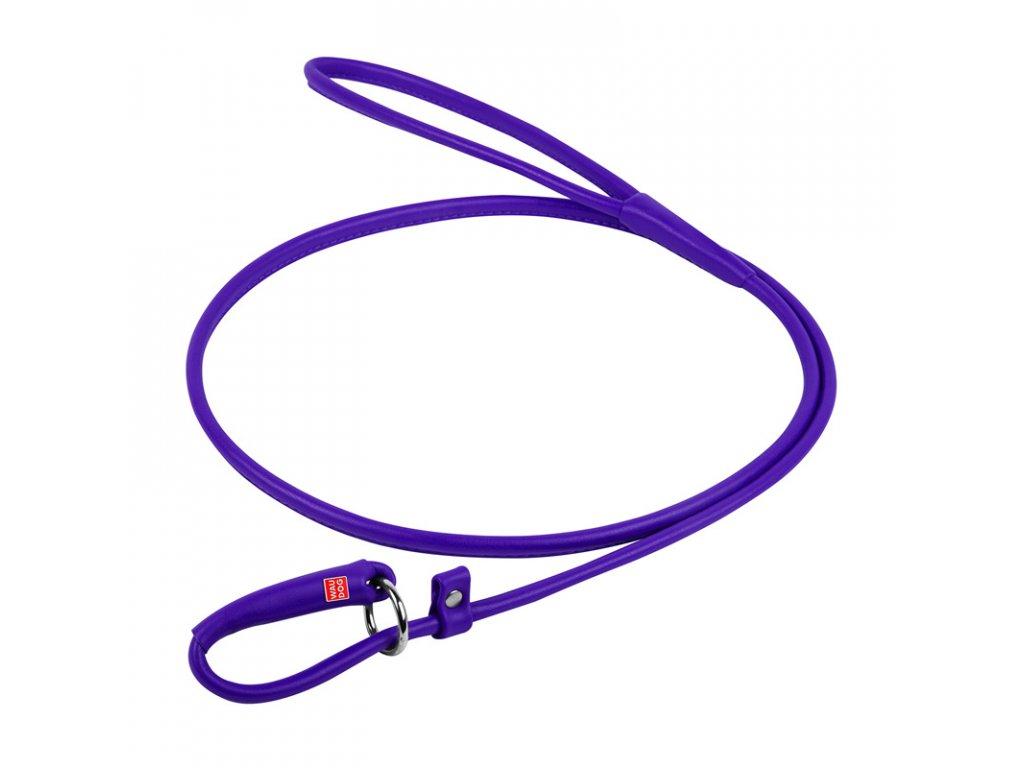 Okrúhle kožené škrtiace vodítko fialové 135cm