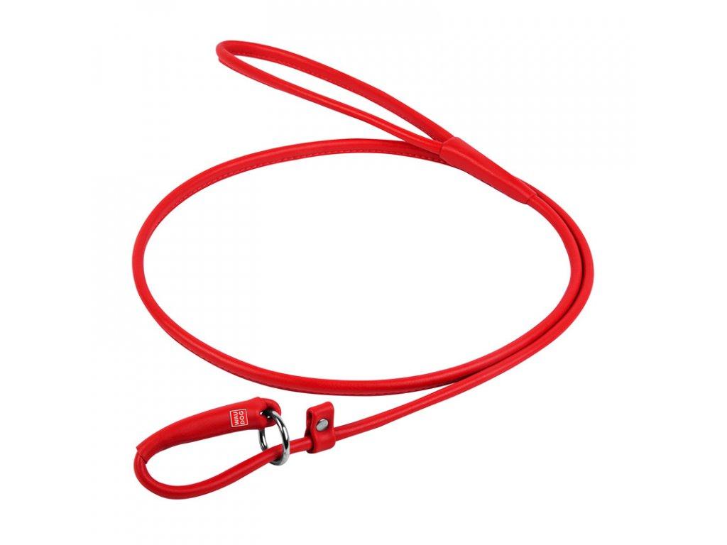 Okrúhle kožené škrtiace vodítko červené 183cm