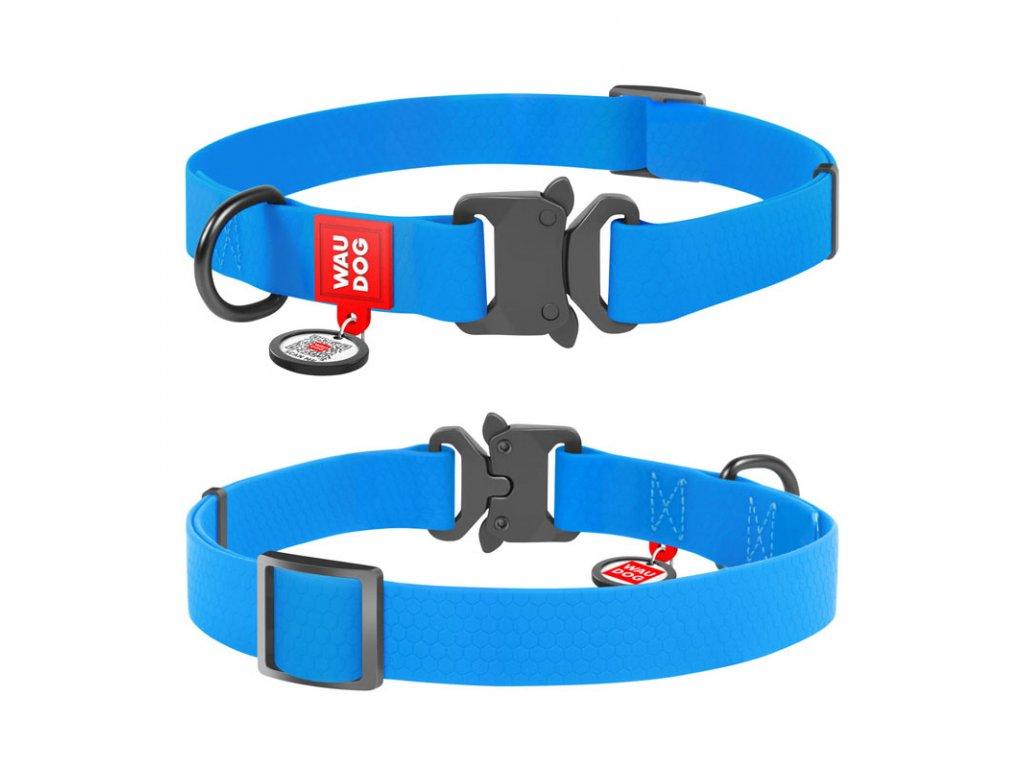 Vode odolný obojok WAU DOG modrý s QR kódom