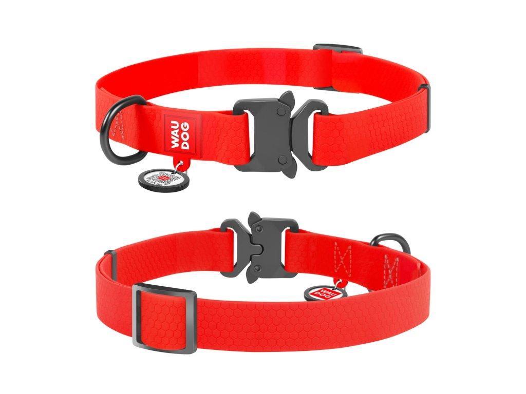 Vode odolný obojok WAU DOG červený s QR kódom