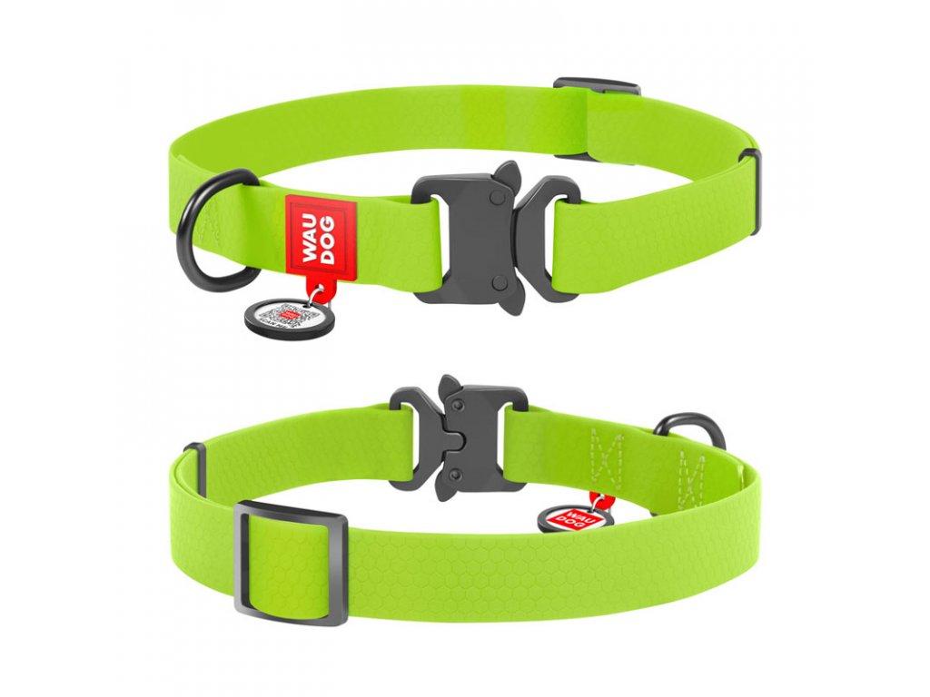 Vode odolný obojok WAU DOG zelený s QR kódom