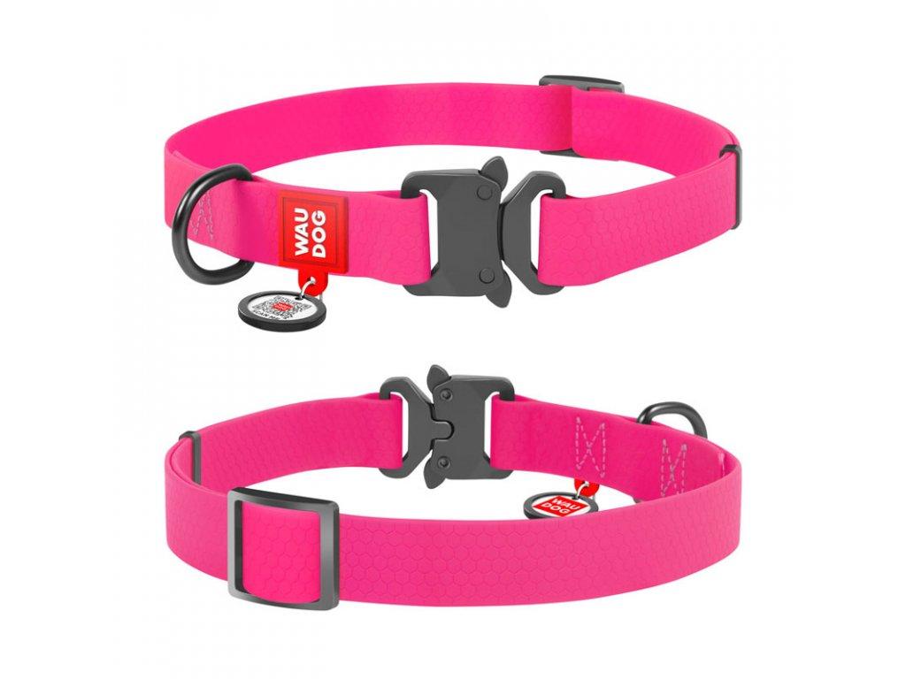 Vode odolný obojok WAU DOG ružový  s QR kódom
