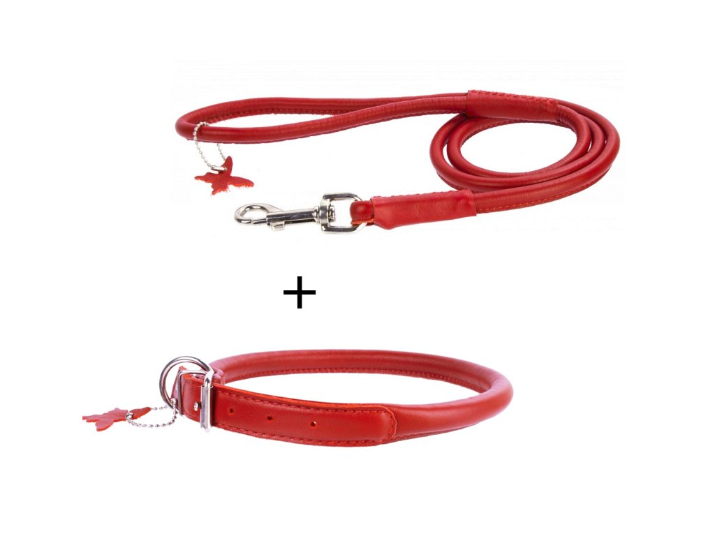 výhodný kožený obojok a vodítko pre psa červený set