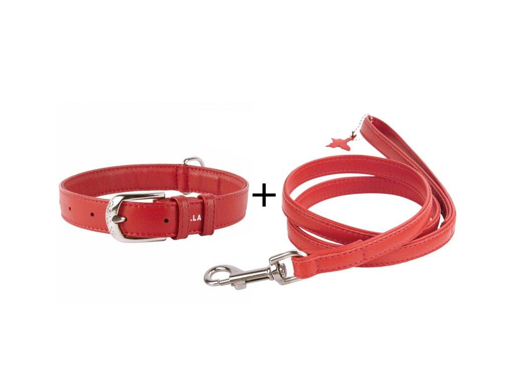 Obojok a vodítko plochý kožený set pre psa červenej farby