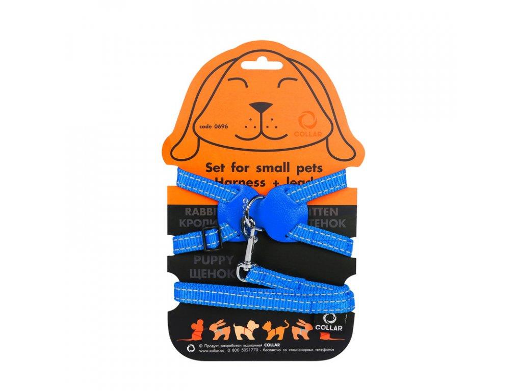 Nylonový postroj pre mačky a malé zvieratá s vodítkom modrý