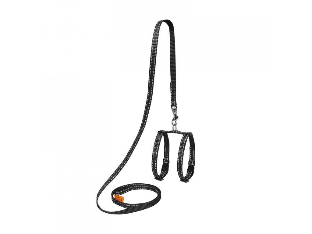 Nylonový postroj pre hlodavce s vodítkom čierny