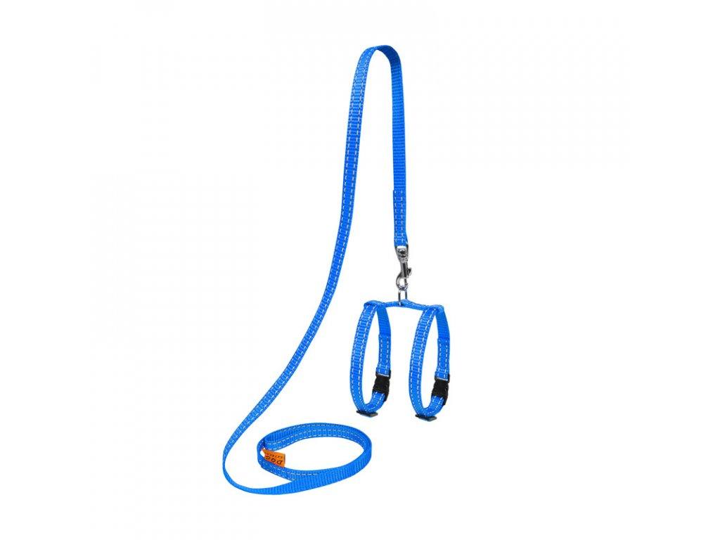 Nylonový postroj pre hlodavce s vodítkom modrý