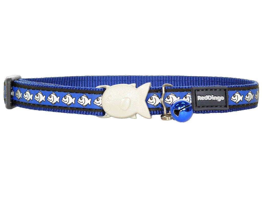Reflexný nylonový  obojok pre mačku modrý