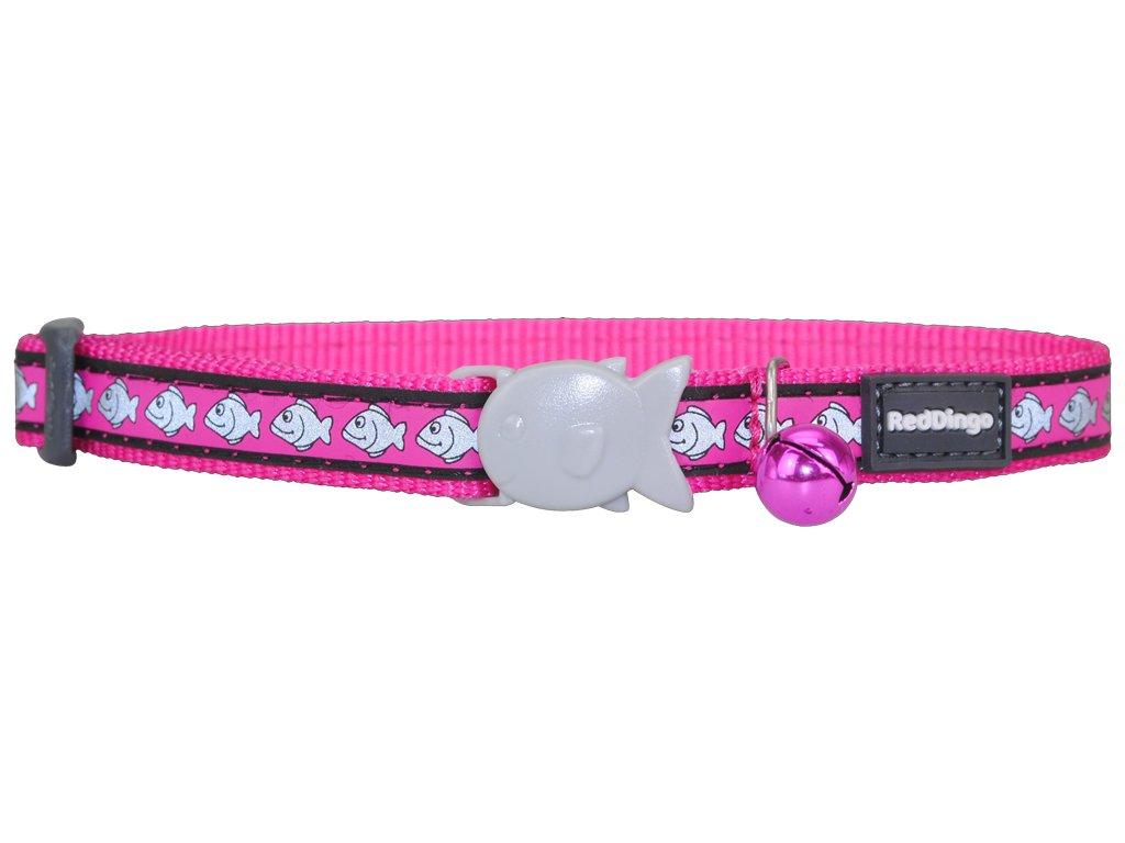 Reflexný nylonový obojok pre mačku ružový