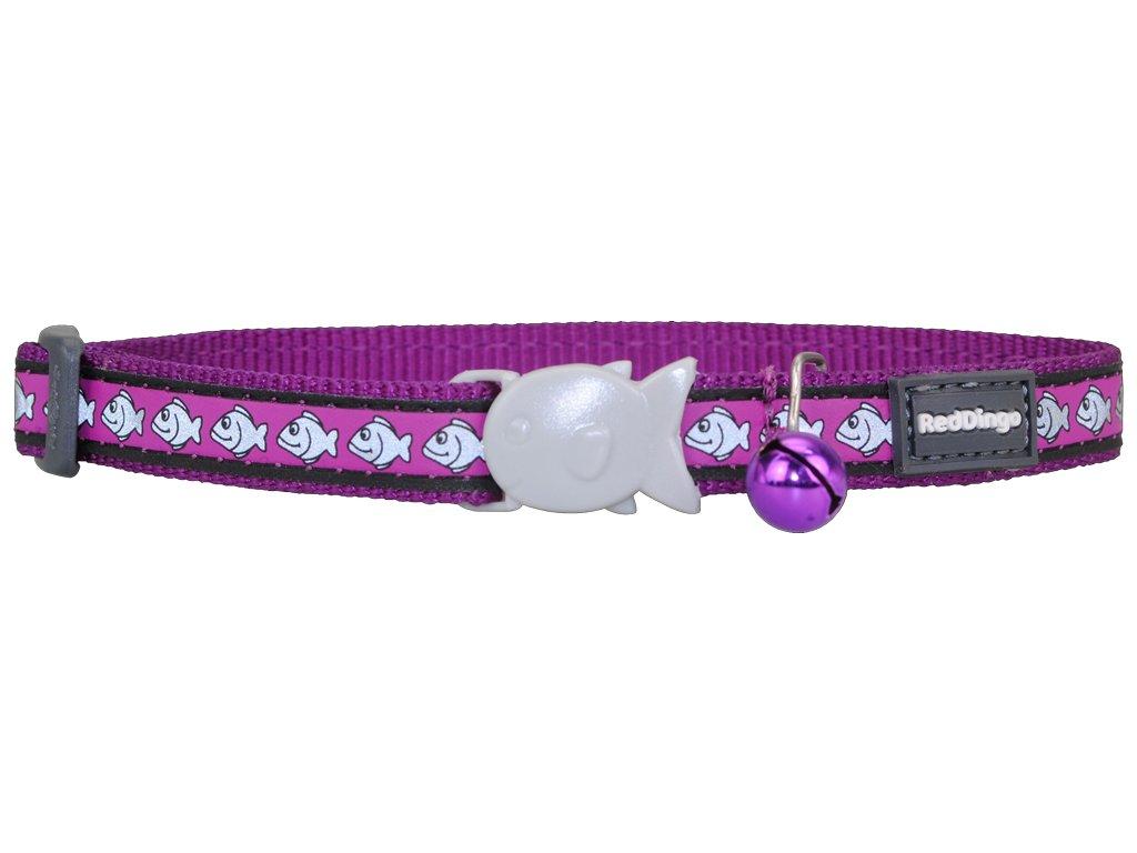 Reflexný nylonový obojok pre mačku fialový
