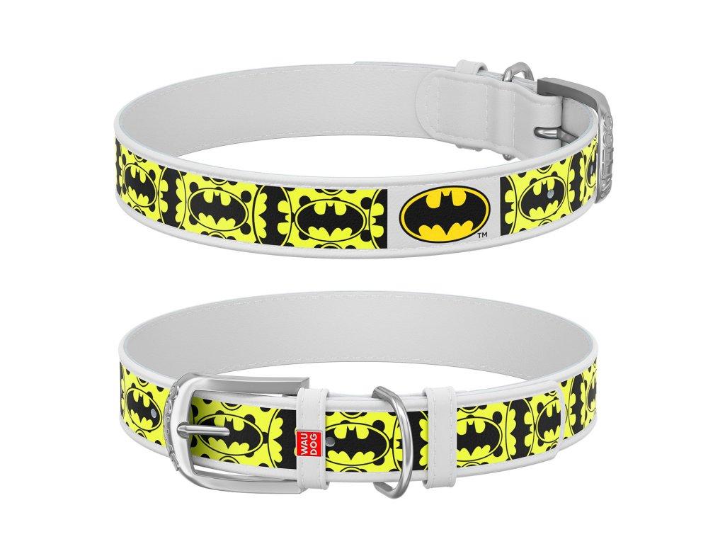 Kožený obojok Batman DC COMICS biely