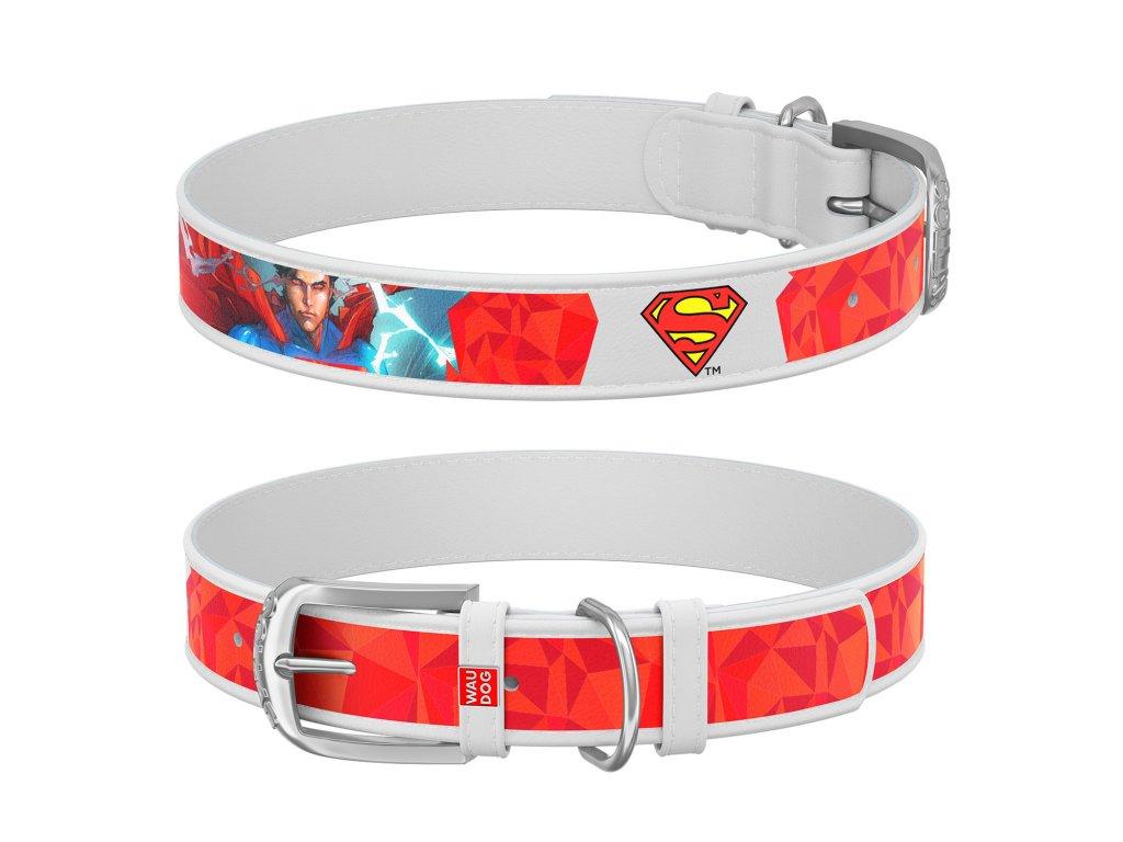 Kožený obojok Superman DC COMICS biely
