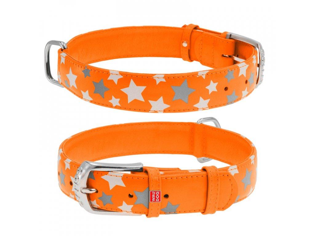 Plochý kožený obojok s hviezdičkami oranžový svietiaci