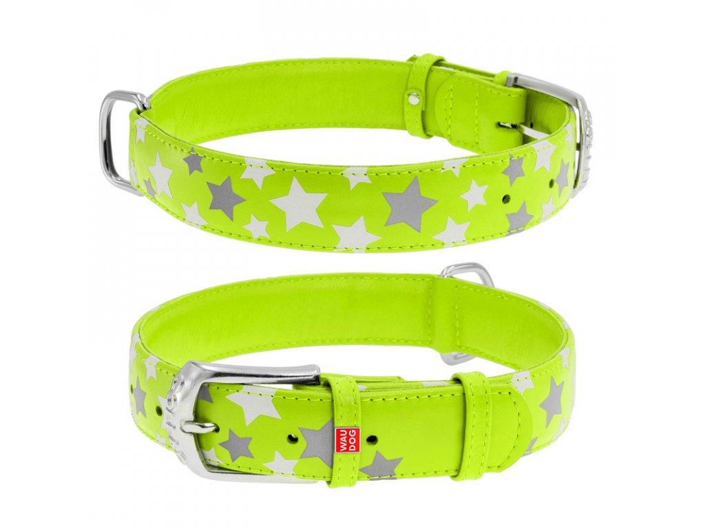 Plochý kožený obojok s hviezdičkami zelený svietiaci