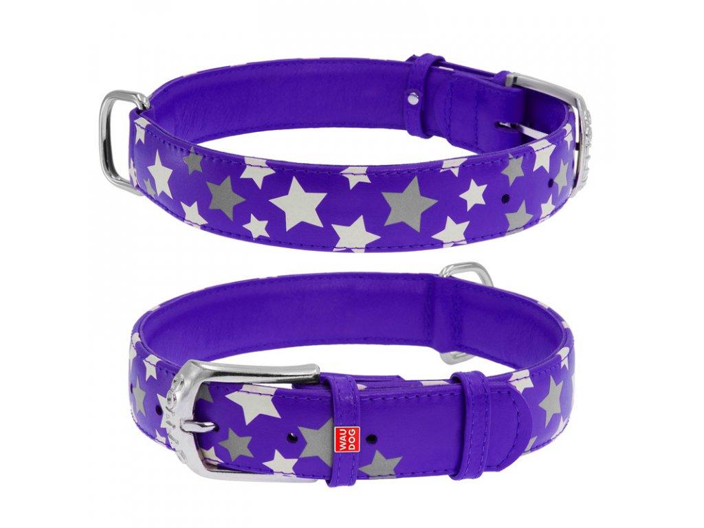 Plochý kožený obojok s hviezdičkami fialový svietiaci