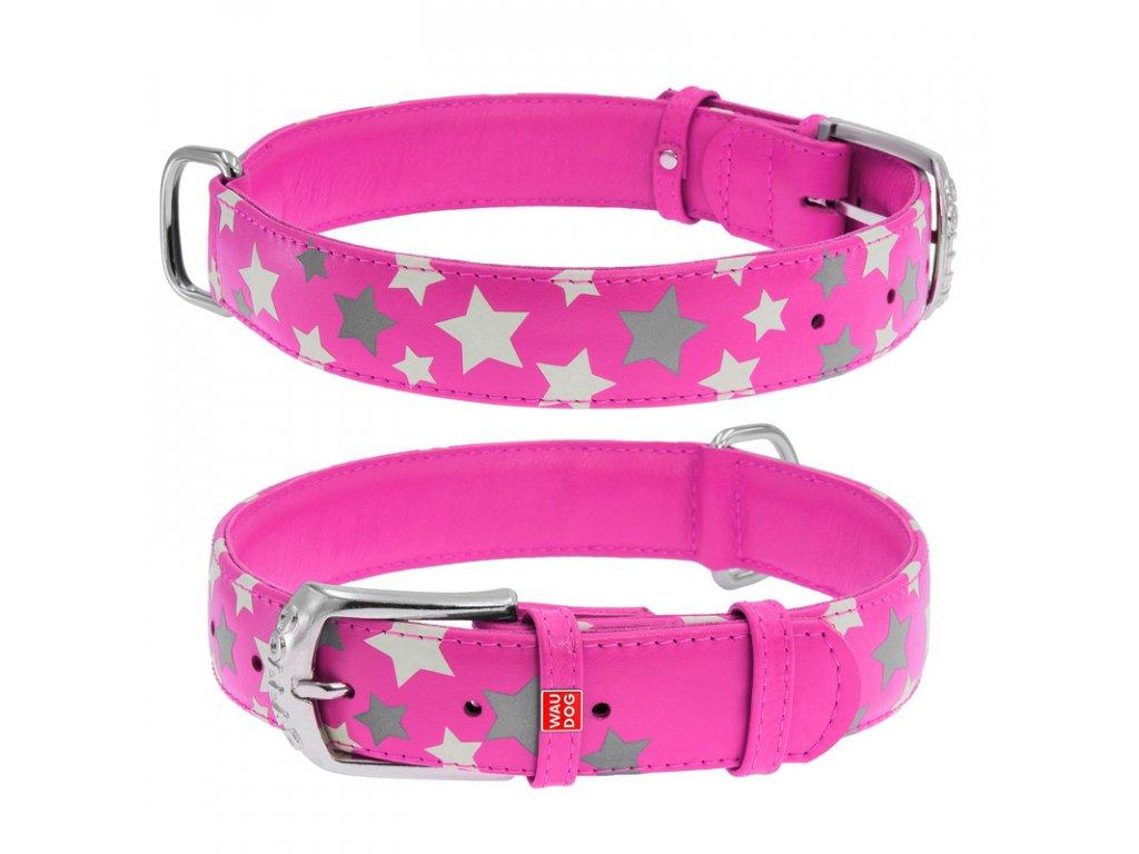 Plochý kožený obojok s hviezdičkami ružový svietiaci