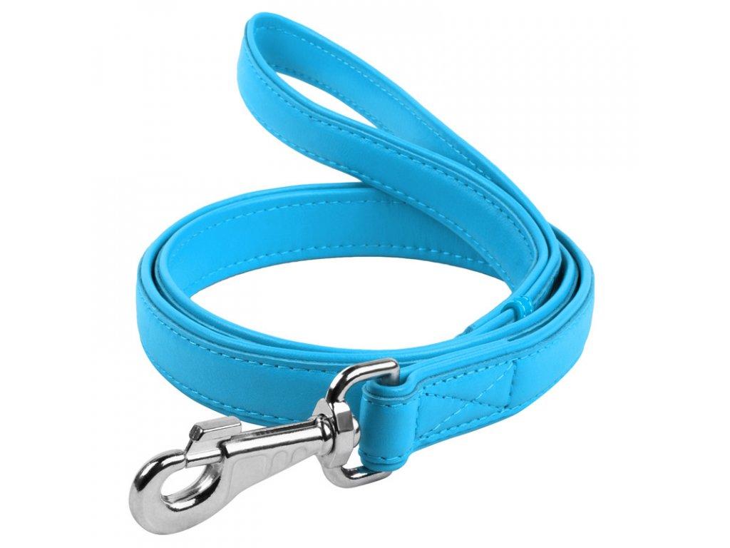 Ploché kožené vodítko modrej farby 122cm
