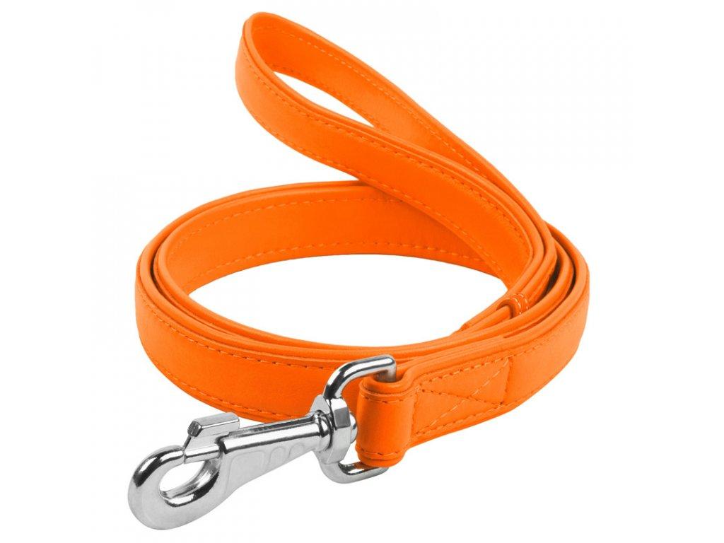 Ploché kožené vodítko oranžovej farby 122cm
