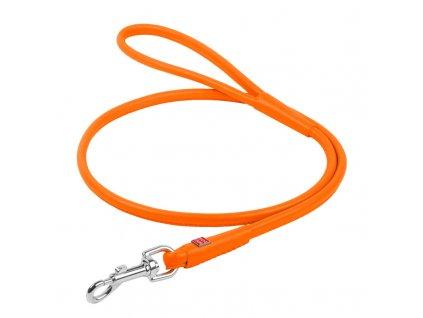 Okrúhle kožené vodítko oranžovej farby 183cm