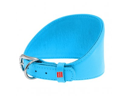 Obojok pre chrty kožený modrý