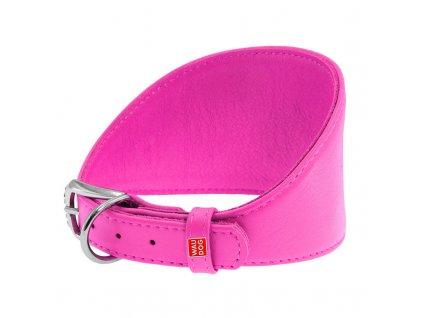 Obojok pre chrty kožený  ružový