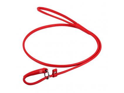 Okrúhle kožené škrtiace vodítko červené 183cm výstavné vodítko