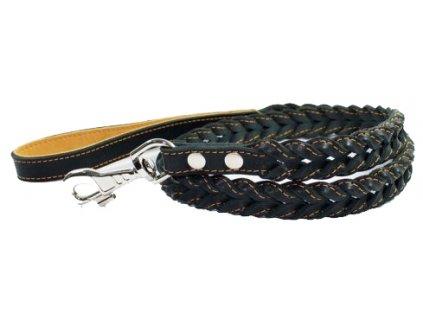Prepletané kožené vodítko čierne 122cm
