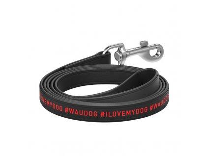 Ploché kožené vodítko s nápisom I LOVE MY DOG dog čierne 122cm