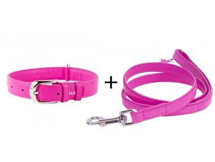 Obojok a vodítko plochý kožený set pre psa ružovej farby