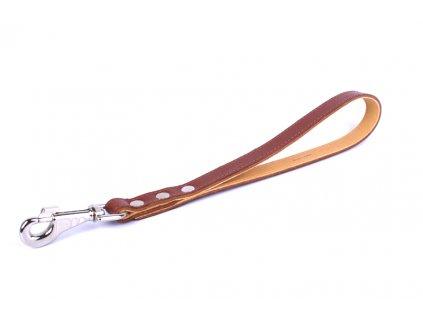 Kožené vychádzkové vodítko rúčka hnedé 40cm