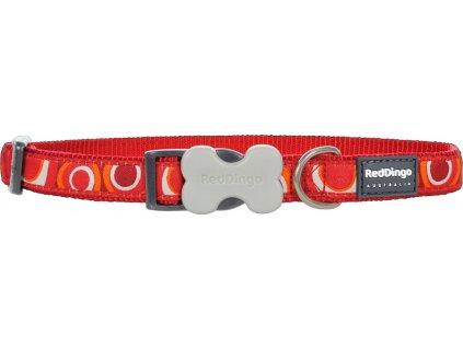 DC CI RE Nylonový obojok Red dingo circadelic červený