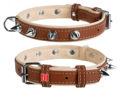 7193 Kvalitný kožený obojok s ostňami WAU DOG SOFT