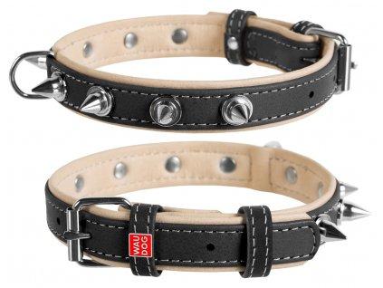 7192 kvalitný kožený obojok čierny s ostňami WAU DOG SOFT