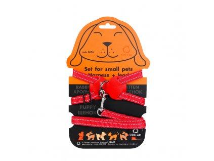 Nylonový postroj pre mačky a malé zvieratá s vodítkom červený