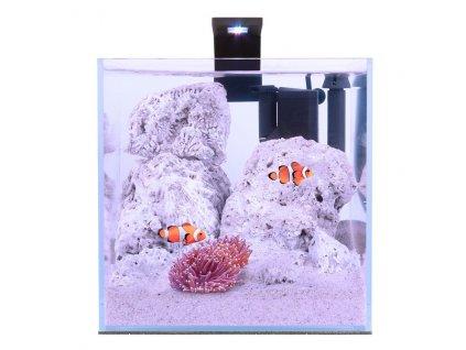 Akva morský set 15l pre beta rybky, krevety, rastlinky s filtrom LED svetlom, podložkou, krytom, číre sklo