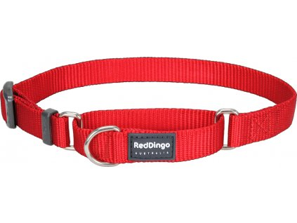 Nastaviteľný polosťahovací nylonový obojok Red dingo červený