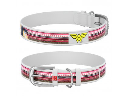 Kožený obojok Wonderwoman DC COMICS biely