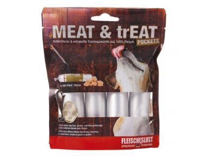 Odmeny pre psov v tvare salámy Meat and trEAT 100% konské mäso 4x40g