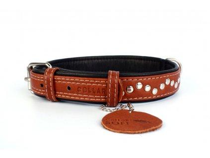 Veľmi jemný plochý kožený obojok pre psa Soft jahňacia koža čierno-hnedý vybíjaný