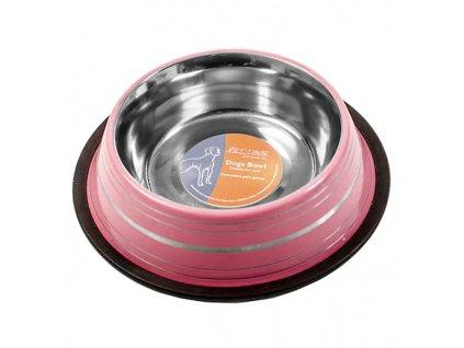 Ružová nerezová miska pre psa