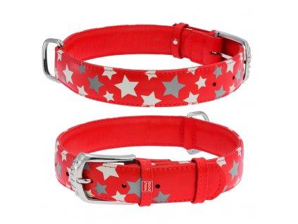 Plochý kožený obojok s hviezdičkami červený svietiaci
