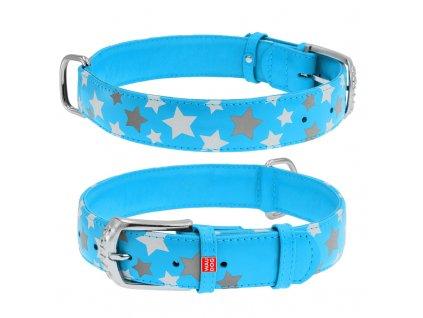 Plochý kožený obojok s hviezdičkami modrý svietiaci