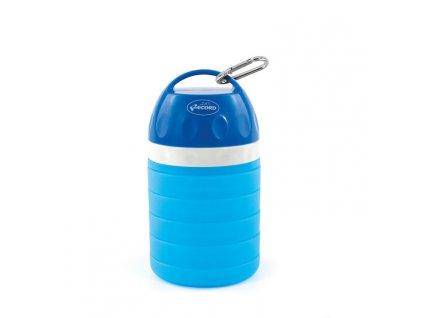 Rastúca cestovná  fľaša na vodu s miskou pre psa modrá