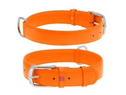 Plochý kožený obojok oranžovej farby
