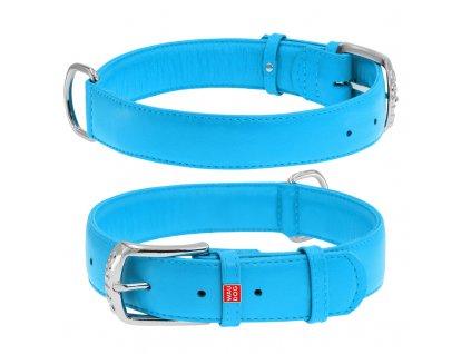 Plochý kožený obojok modrej farby